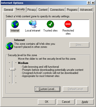 Internet Options Security Tab