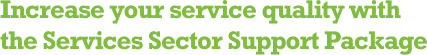 Increase your service quality with the Services Sector Support Package.
